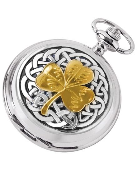 'Shamrock' Quartz Pocket Watch with Chain